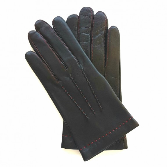 "Leather gloves of lamb black and red ""HENRI"""