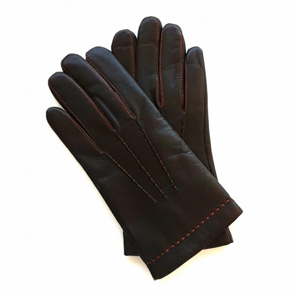 "Leather gloves of lamb brown and orange ""HENRI"""