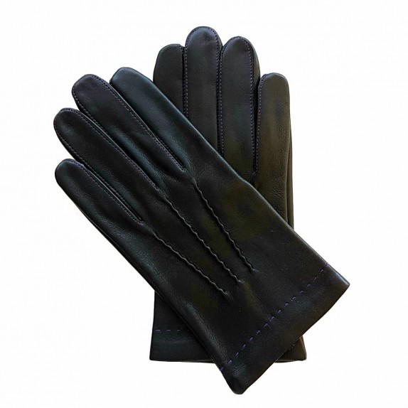 "Leather gloves of lamb black and purple ""HENRI"""