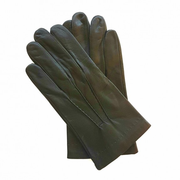 "Leather gloves of lamb khaki ""HENRI"""