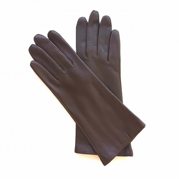 "Leather gloves of lamb brown ""COLINE BIS""."