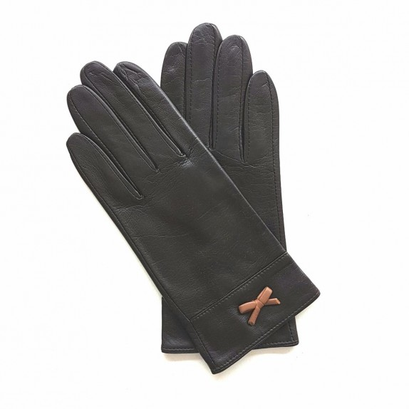"Leather gloves of lamb brown and sand ""ANEMONE"""