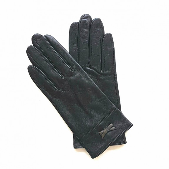 "Leather gloves of lamb black and grey ""ANEMONE"""
