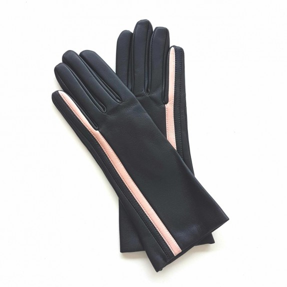 """Leather gloves of lamb black and pink """"GABRIELLE""""."""