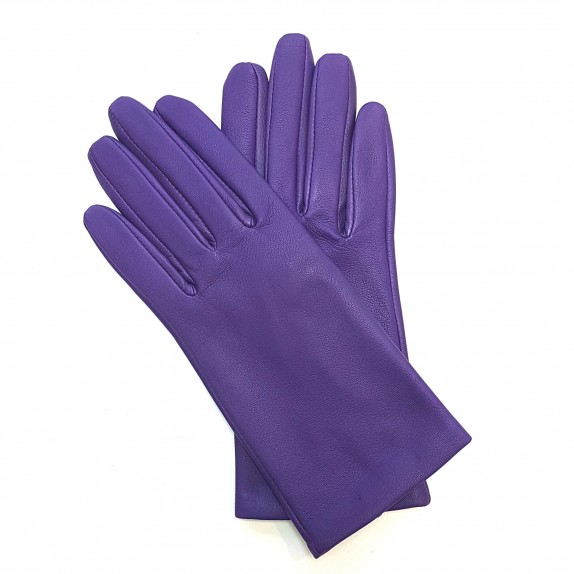 "Leather gloves of lamb amethyst ""CAPUCINE"""