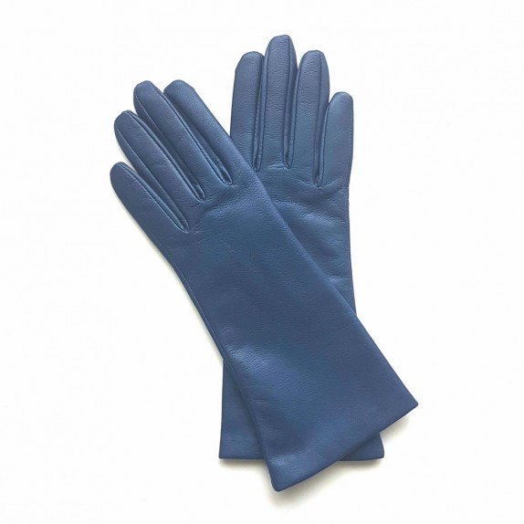 "Leather gloves of lamb indigo ""COLINE""."