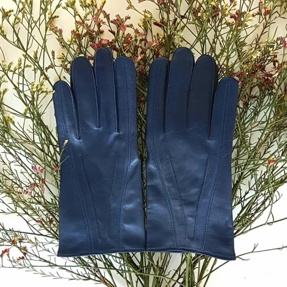 "Leather gloves of lamb indigo""STEEVE""."