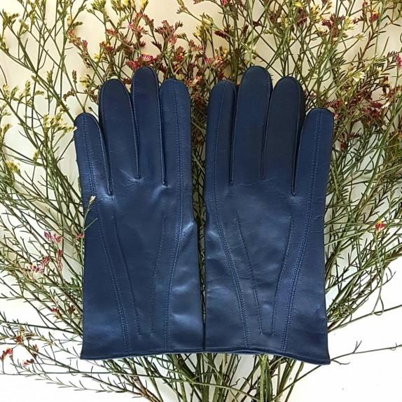 "Leather gloves of lamb indigo""STEEVE""."