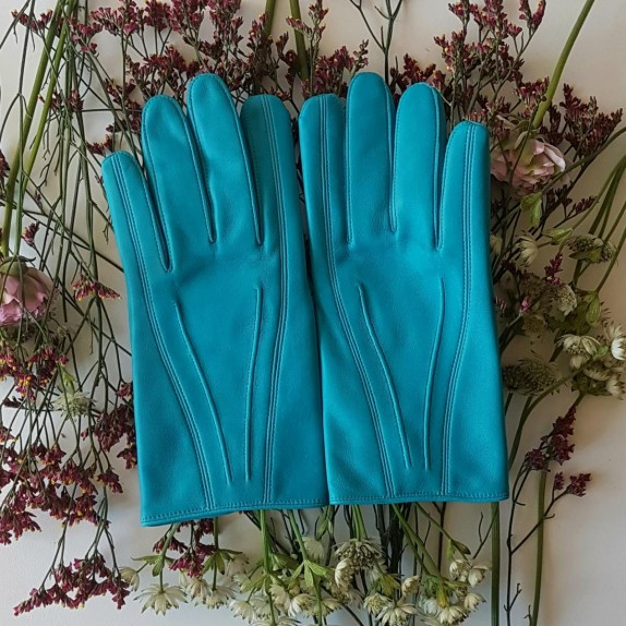"Leather gloves of lamb turquoise ""STEEVE""."