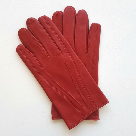 "Leather gloves of lamb red ""STEEVE""."