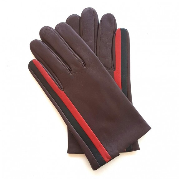 "Leather gloves of lamb maroon, red, black ""AKANO""."