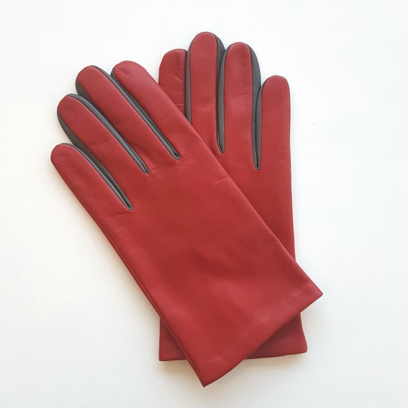 "Leather gloves of lamb red, grey ""TWIN H"""