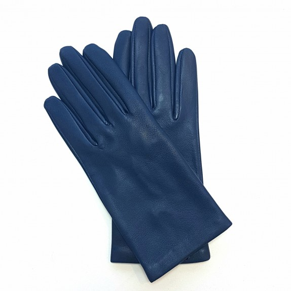 "Leather gloves of lamb indigo""CAPUCINE"""