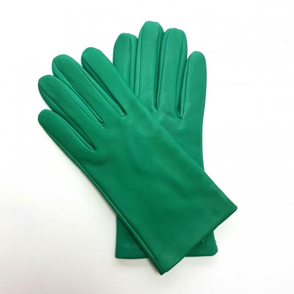 "Leather gloves of lamb emerald ""CAPUCINE"""