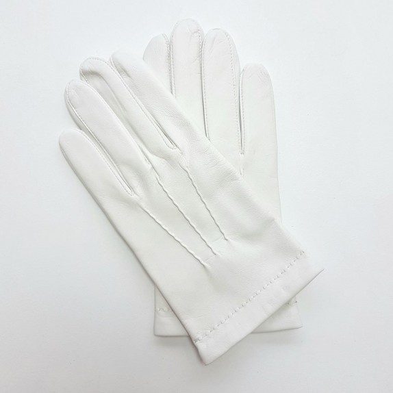 "Leather gloves of lamb white ""HENRI"""