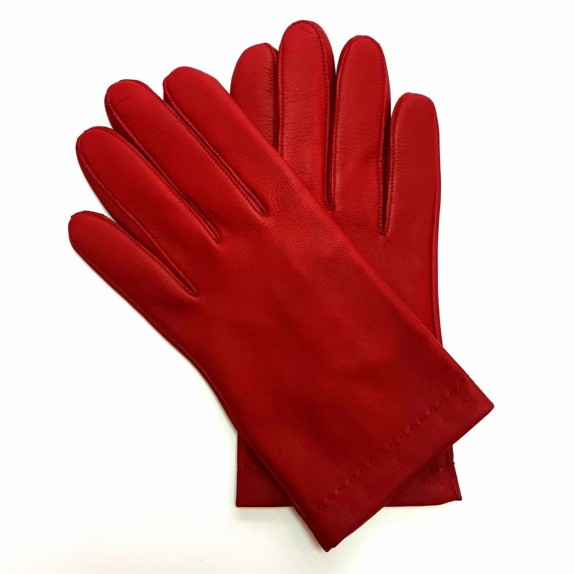 "Leather gloves of lamb red ""RAPHAËL""."