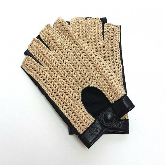 "Leather mittens of lamb and cotton hooks black and ecru ""MICHELE""."