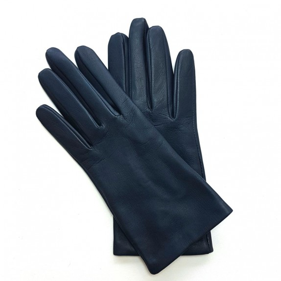 "Leather gloves of lamb navy ""CAPUCINE"""