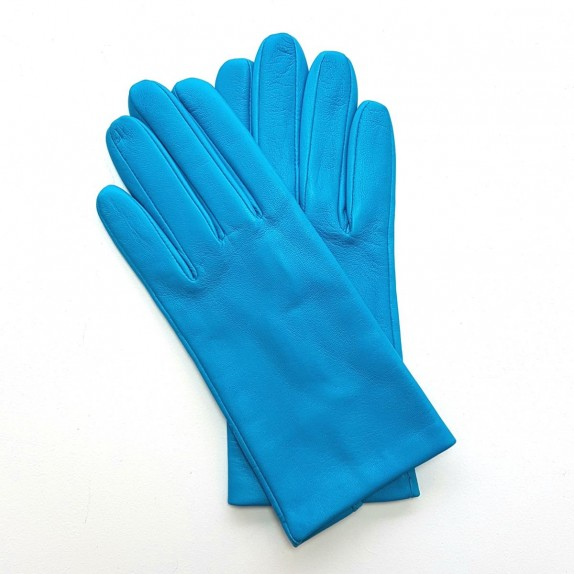 "Leather gloves of lamb turquoise ""CAPUCINE"""