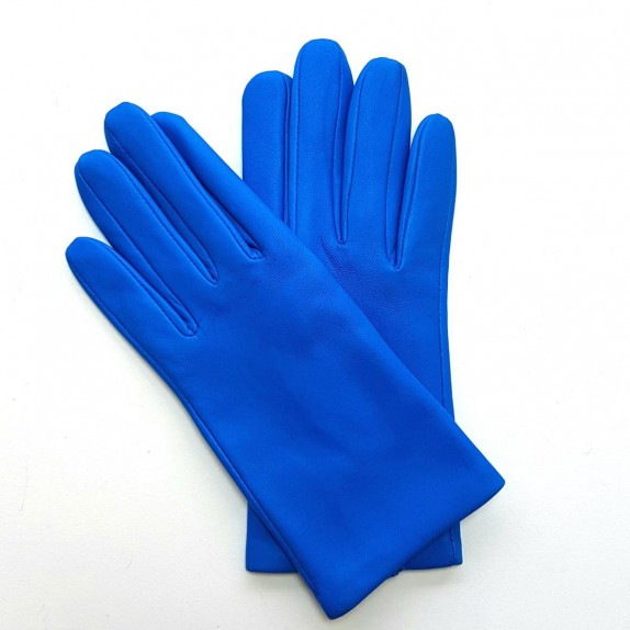 "Leather gloves of lamb blue of France ""CAPUCINE"""