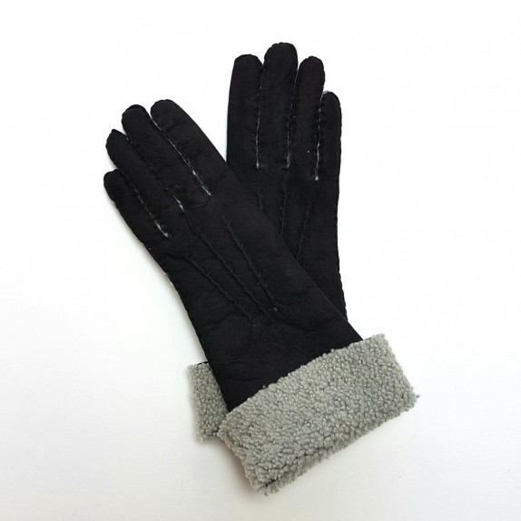 "Leather gloves of shearling black ""ZOIA"""