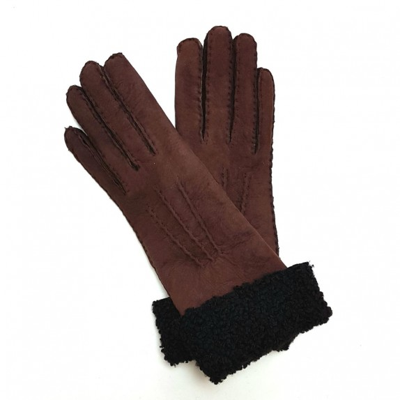 "Leather gloves of shearling chocolate ""ZOIA"""