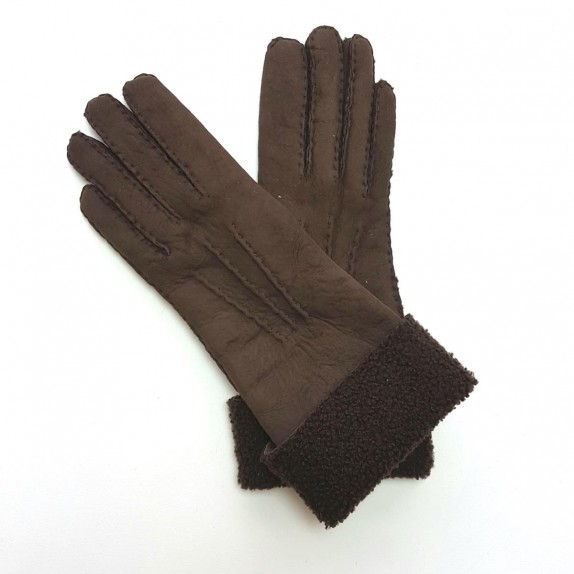 "Leather gloves of shearling brown ""ZOIA"""