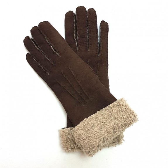 """Leather gloves of shearling brown and ecru """"ZOIA"""""""
