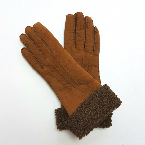 "Leather gloves of shearling brown and ecru ""ZOIA"""