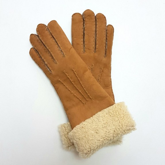 "Leather gloves of shearling chesnut ""ZOIA"""
