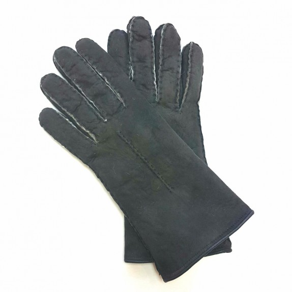 "Leather gloves of sherling grey ""ANASTASIA""."