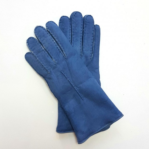 "Leather gloves of sherling blue jeans ""ANASTASIA""."