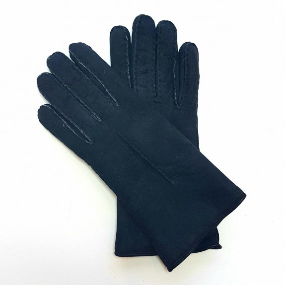 "Leather gloves of sherling  black ""ANASTASIA""."