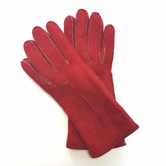 "Leather gloves of sherling red ""ANASTASIA""."