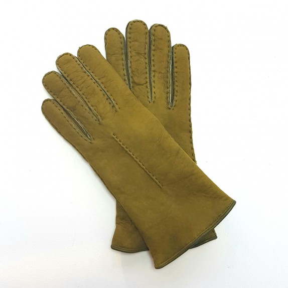 "Leather gloves of sherling pistachio ""ANASTASIA""."
