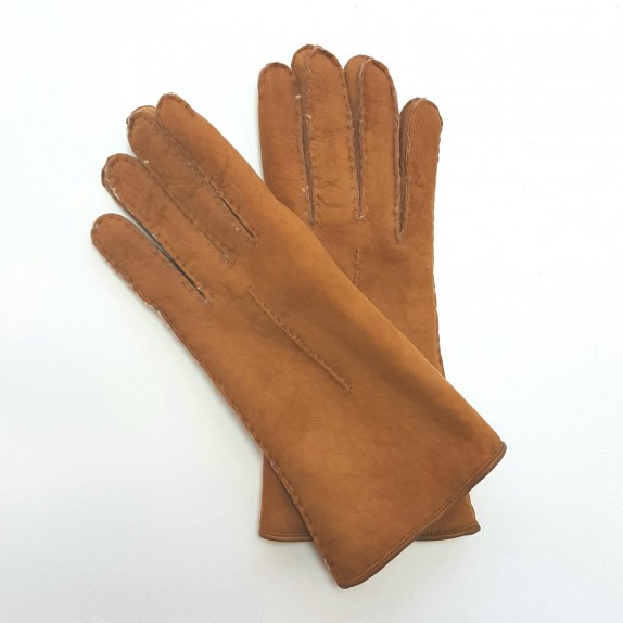 "Leather gloves of sherling chesnut ""ANASTASIA""."