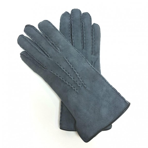 "Leather gloves of sherling steel blue ""ANASTASIA""."