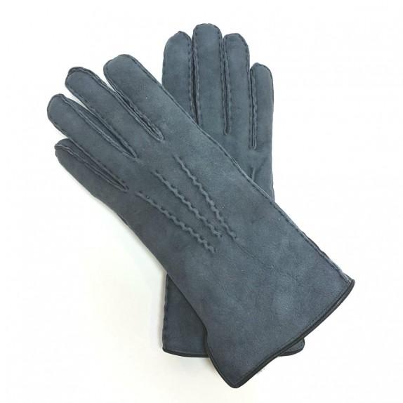 "Leather gloves of sherling steel blue ""ANASTASIA""."