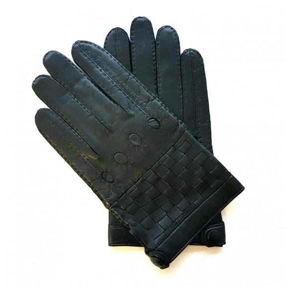"Leather gloves of lamb black ""DAMIER""."