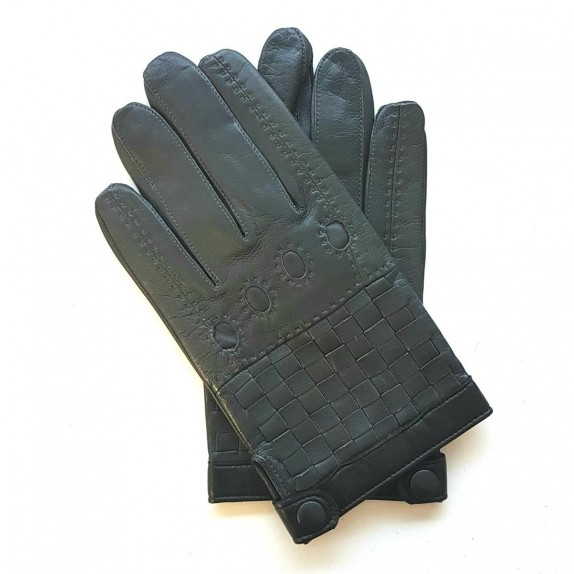 "Leather gloves of lamb grey and black ""DAMIER""."