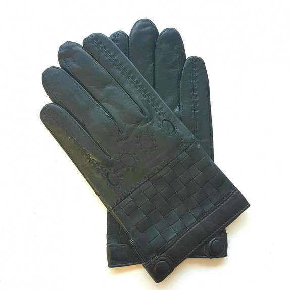 "Leather gloves of lamb black ""DAMIER""."