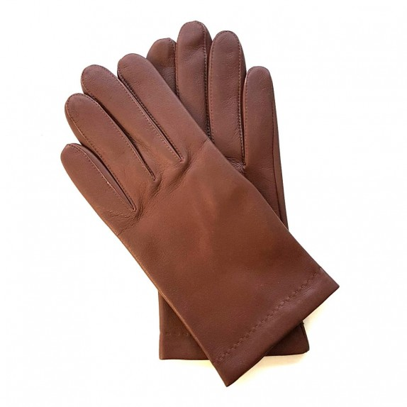 "Leather gloves of lamb chocolate and orange ""MARTIN""."