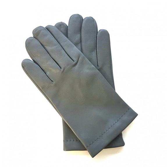 "Leather gloves of lamb grey and orange ""MARTIN""."