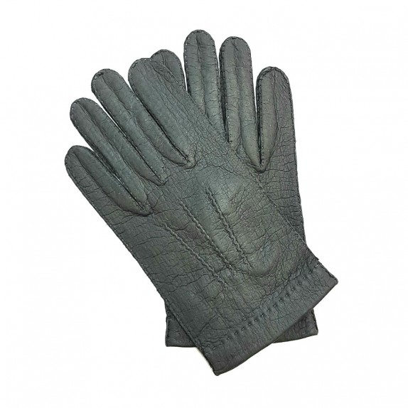 """Leather gloves of peccary grey """"JOSEPH""""."""