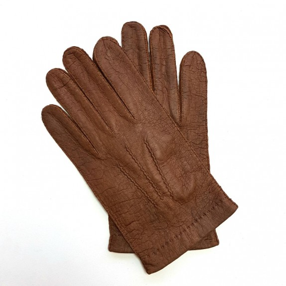 "Leather gloves of peccary chocolate ""JOSEPH""."