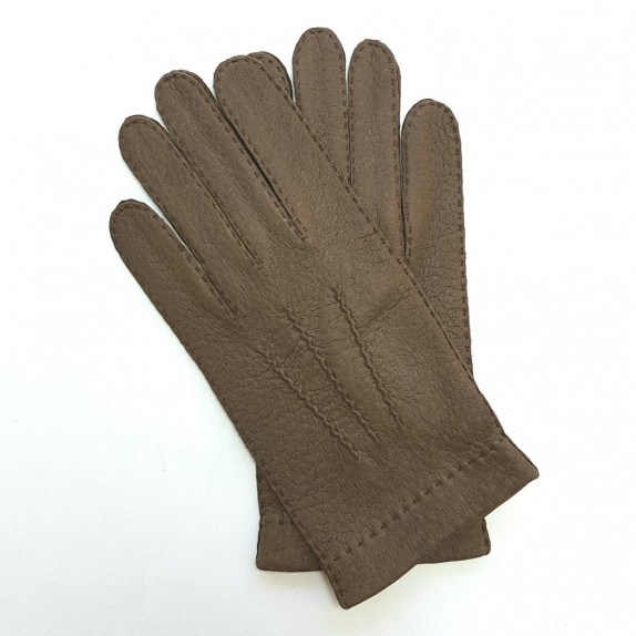 "Leather gloves of peccary dark taupe ""JOSEPH""."