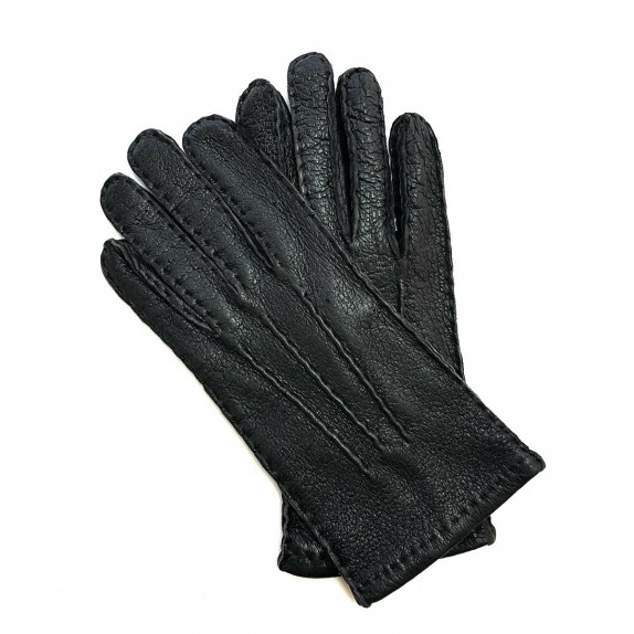 """Leather gloves of peccary dark taupe """"JOSEPH""""."""