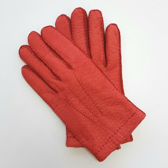 """Leather gloves of peccary red """"JOSEPH""""."""