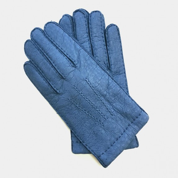 "Leather gloves of peccary blue ""PAUL""."