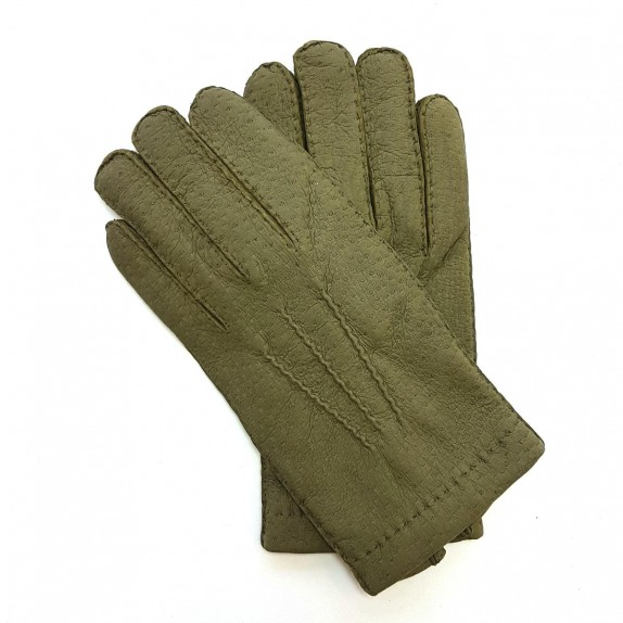 "Leather gloves of peccary khaki ""PAUL""."